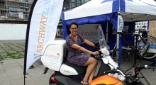 Cllr Kaya Comer Schwartz has a go on one or the ZEN bikes