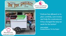 Pedivan cargo bike outside the toy shop